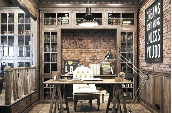 kantor minimalis vintage pakai lantai kayu